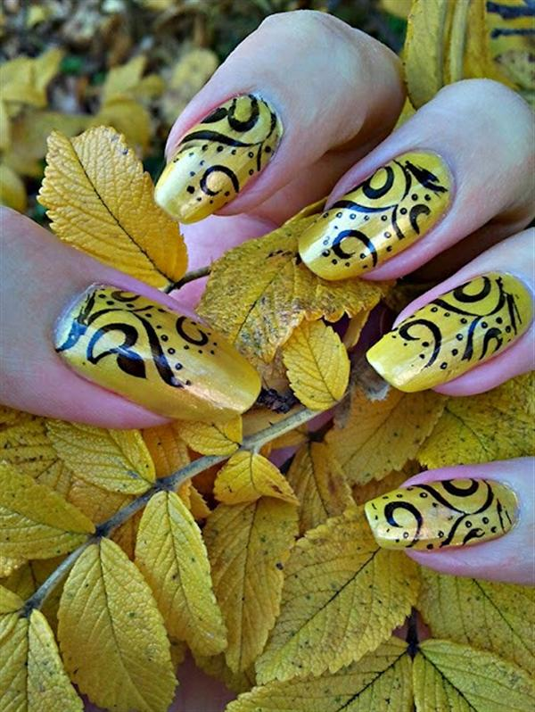 Creative Yet Cute Yellow Nail Art Designs-1