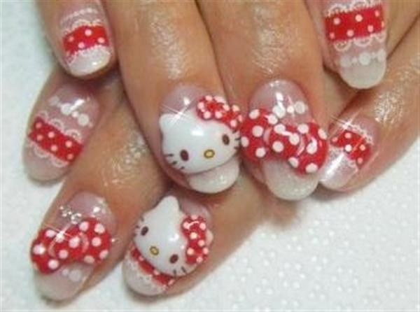 Short Hello Kitty Nail Designs Pink 2015 Reasabaidhean
