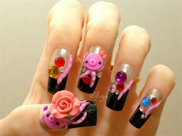 Elegant And Beautiful Japanese 3D Nail Art Designs, Supplies And Gallery-4