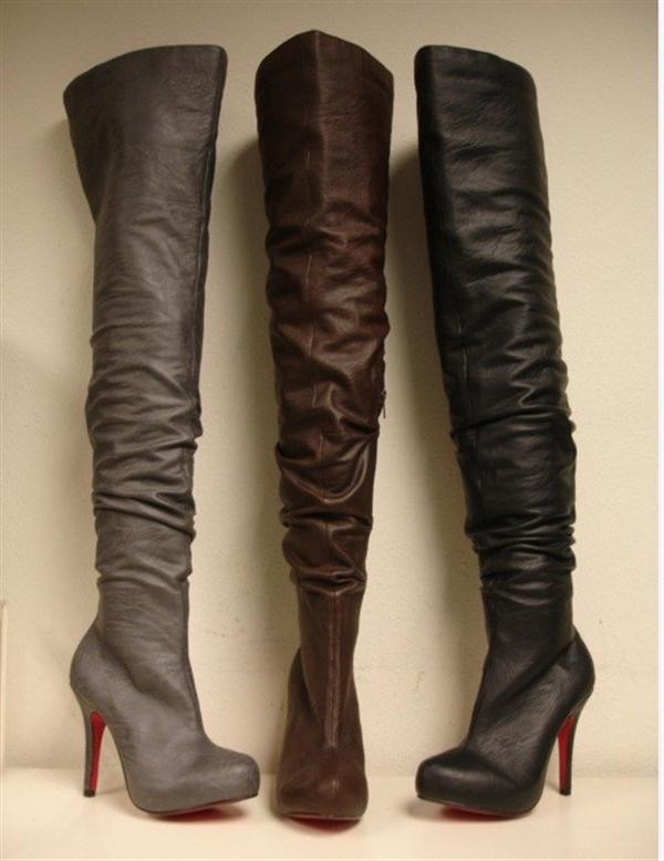Womens Leather Thigh High Boots