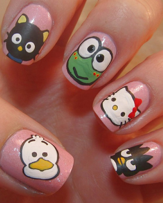 15 + Cute & Simple Hello Kitty Nail Art Designs & Stickers