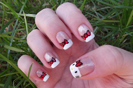 15 + Cute & Simple Hello Kitty Nail Art Designs & Stickers | Nail Art ...
