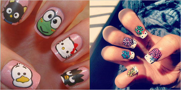 15-Cute-Simple-Hello-Kitty-Nail-Art Designs-Stickers-Nail-Art-For-Beginners