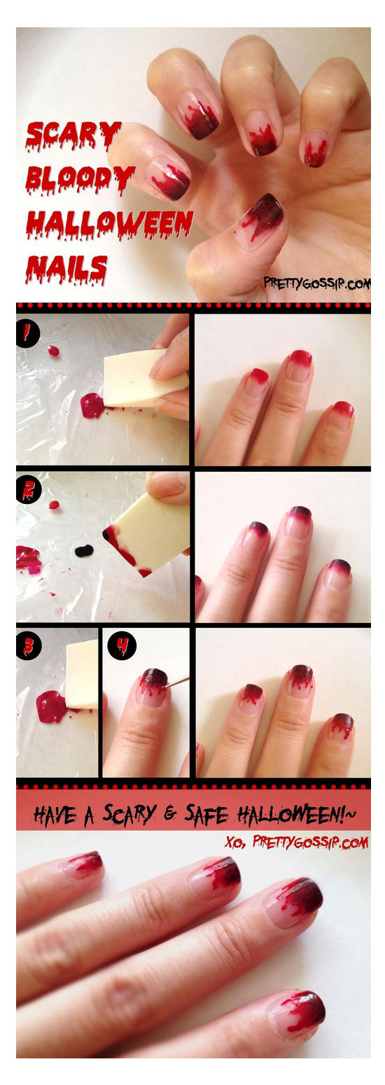 Simple, Easy & Scary Halloween Nail Art Tutorials 2014 For ...