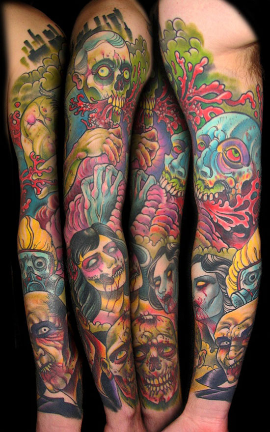 15 Best Unique Scary Halloween Tattoo Designs Images Galleries 2012