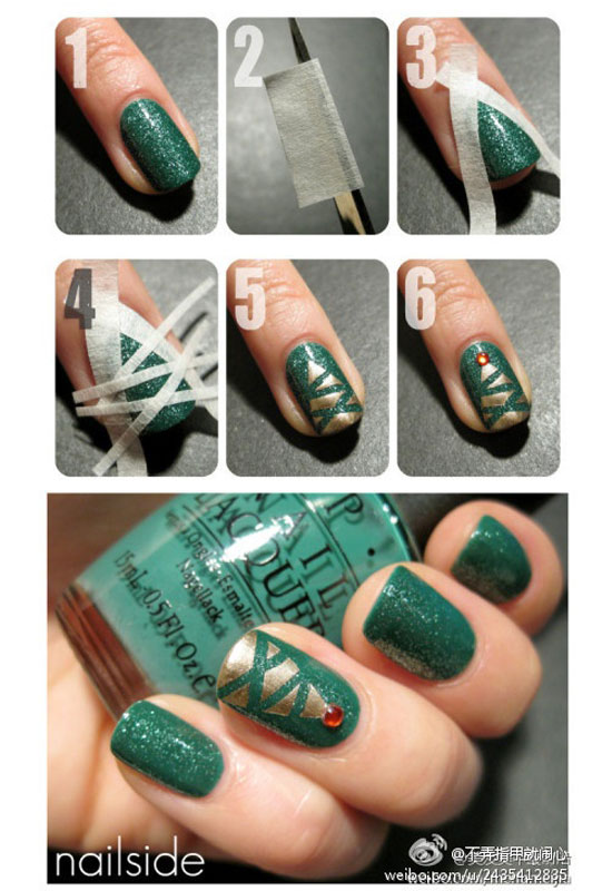 Easy-Simple-Christmas-Tree-Nail-Art-Tutorial-2012-For-Girls-1