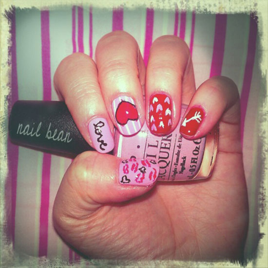 15 Best Valentines Day Nail Art Ideas Designs 2013 For Girls 11 15 Best Valentines Day Nail Art Ideas & Designs 2013 For Girls