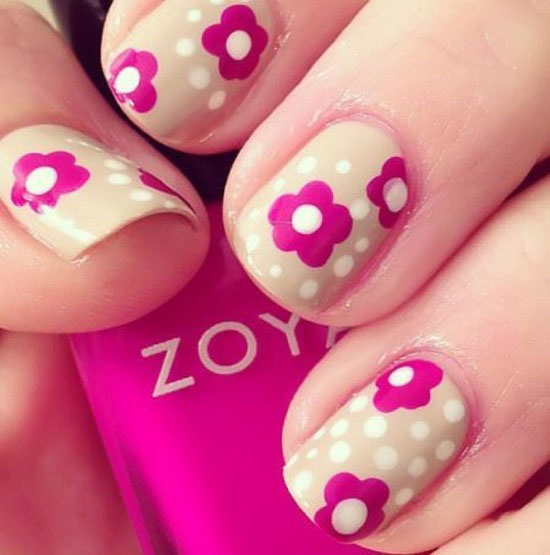 Simple Nail Designs Pink : Pink flowers nail art design