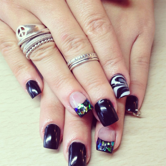 Popular Nail Art Designs: 15 + Best Black Acrylic Nail Art Designs & Ideas 2013 For