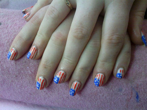American Flag Gel Nail Designs