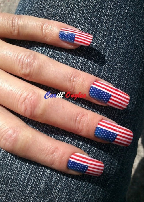 Girl Nail — 15 Easy & Cool Fourth Of July American Flag Nail...