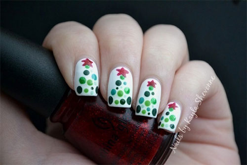 Christmas tree nail art designs ledufa marvelous christmas tree nail art with bells follows inspiration article prinsesfo Image collections
